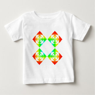 Multi-Color Rainbow Flowers. On White. Baby T-Shirt