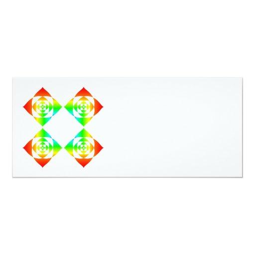 "Multi-Color Rainbow Flowers. On White. 4"" X 9.25"" Invitation Card"
