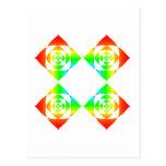 Multi-Color Rainbow Flowers. On White. Postcard