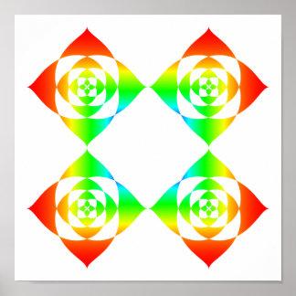 Multi-Color Rainbow Flowers. On White. Print