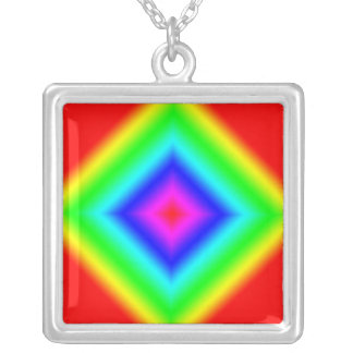 Multi-Color Rainbow Sterling Silver Necklace