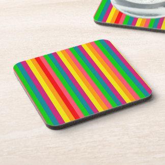 Multi Color Rainbow Vertical Stripes Pattern Beverage Coaster