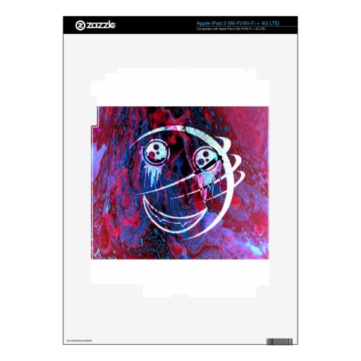 Multi-color smiley face iPad 3 decal