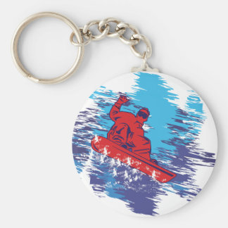 Multi Color Snowbarder Cathching High Snow Drifts Keychain