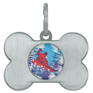 Multi Color Snowbarder Cathching High Snow Drifts Pet Tag
