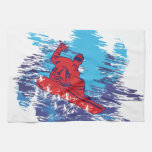 Multi Color Snowboarder Cathching High Snow Drifts Towel