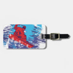 Multi Color Snowboarder Cathching High Snow Drifts Luggage Tag