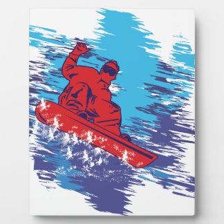 Multi Color Snowboarder Cathching High Snow Drifts Photo Plaques