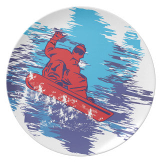 Multi Color Snowboarder Cathching High Snow Drifts Party Plate