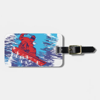 Multi Color Snowboarder Cathching High Snow Drifts Tags For Bags