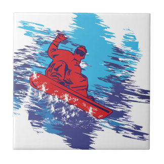 Multi Color Snowboarder Cathching High Snow Drifts Small Square Tile