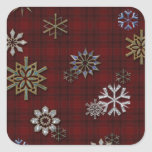 Multi-color snowflakes on Red Tartan Plaid Square Sticker