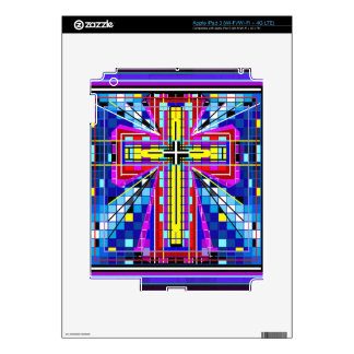 Multi color stained glass Cross Decal For iPad 3