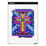 Multi color stained glass Cross Skin For iPad 3