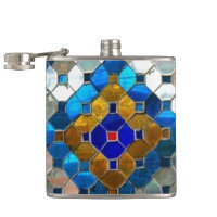 Multi-Color Stained Glass Flask