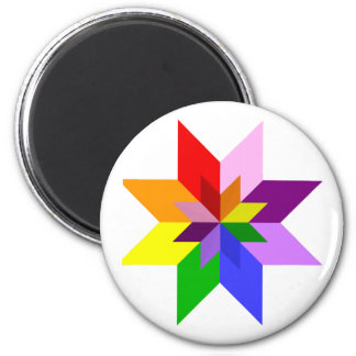 Multi-Color Star: Eight Point: 2 Inch Round Magnet