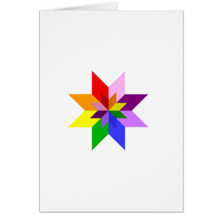 Multi-Color Star Eight Point Greeting Cards