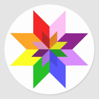 Multi-Color Star: Eight Point: Classic Round Sticker