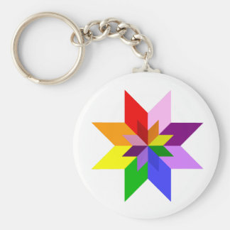 Multi-Color Star Eight Point Keychains