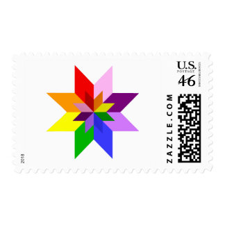 Multi-Color Star Eight Point Postage
