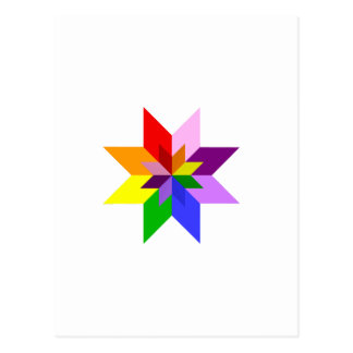 Multi-Color Star Eight Point Postcard