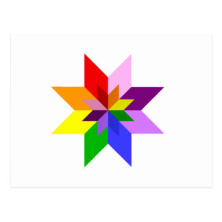 Multi-Color Star Eight Point Post Cards