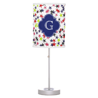 Multi-Color Star Red Pink Lime Navy Black Monogram Table Lamp