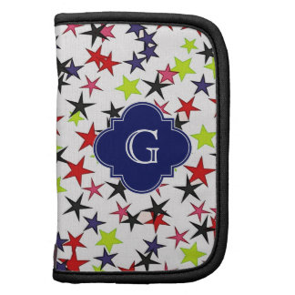 Multi-Color Star Red Pink Lime Navy Black Monogram Folio Planners
