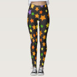 "Multi Color Stars Black Halloween Leggings<br><div class=""desc"">Everybody has their favorite pair of leggings,  why not have some that are as unique as you are. You can wear these for your favorite time of year. If you would like a different style shirt or design or If you need a custom order contact me at invitesanddelites@comcast.net</div>"