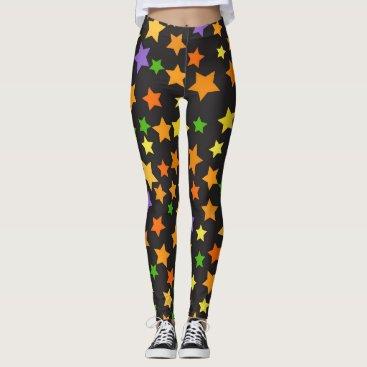 Halloween Themed Multi Color Stars Black Halloween Leggings