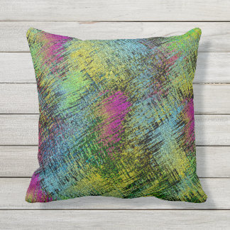 Multi-Color Stitches Outdoor Pillow