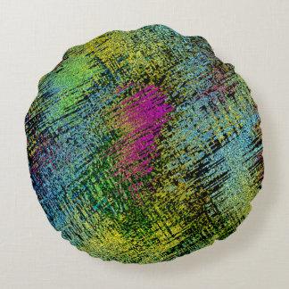 Multi-Color Stitches Round Pillow