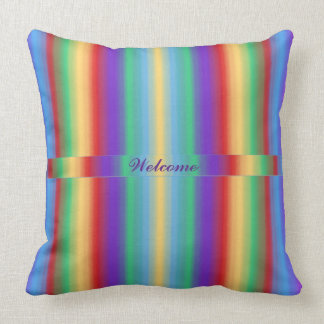 Multi Color Stripes with Ribbon Throw Pillow