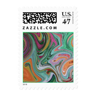 Multi-color, swirled postage stamps