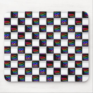 Multi color Techno Lights Checkerboard Pattern Mouse Pad