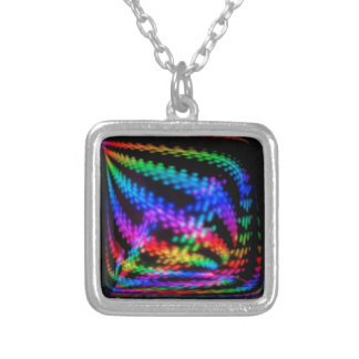 Multi color Techno Lights Checkerboard Pattern Square Pendant Necklace