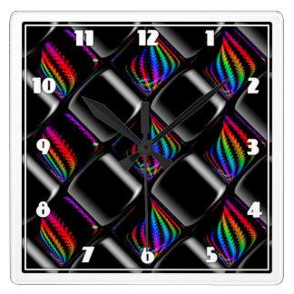 Multi color Techno Lights Checkerboard Pattern Square Wall Clock
