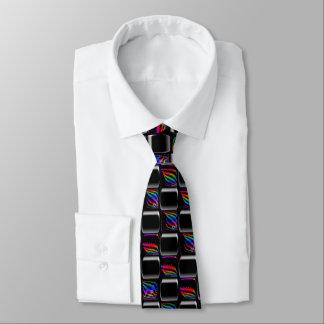 Multi color Techno Lights Checkerboard Pattern Tie