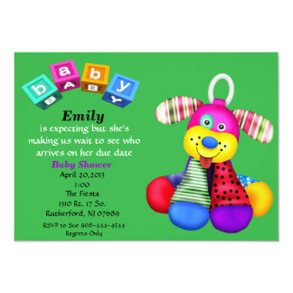 Multi-Color Toy Dog Baby Shower Invitation