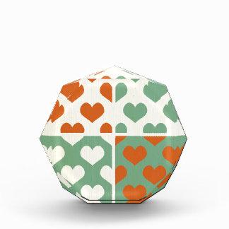 Multi color trendy hearts pattern  girly chic fun acrylic award