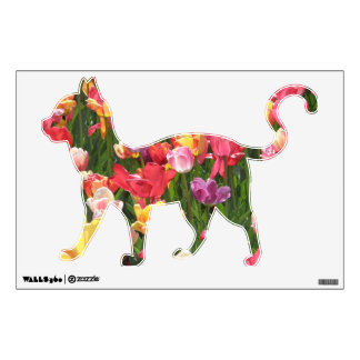 Multi Color Tulips Floral Cats Wall Decal