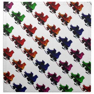 Multi Color Vintage Roller Skates Cloth Napkin