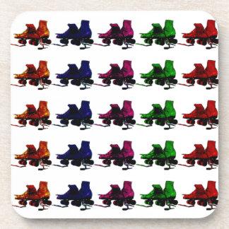 Multi Color Vintage Roller Skates Drink Coaster