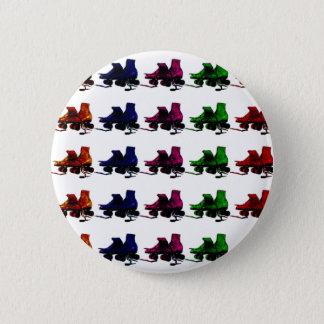 Multi Color Vintage Roller Skates Pinback Button