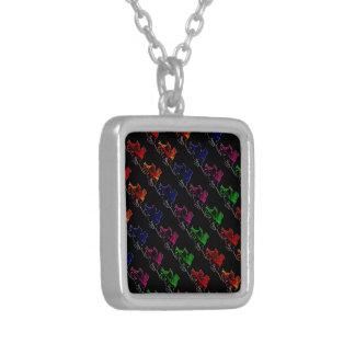 Multi Color Vintage Roller Skates Silver Plated Necklace
