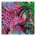 Multi Color Watercolor and Ink Pattern Drawing Poster