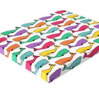 multi color whale pattern canvas print