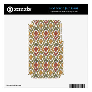 Multi Color Wood Geo Tribal Ikat Diamond Pattern iPod Touch 4G Decal