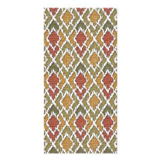 Multi Color Wood Geo Tribal Ikat Diamond Pattern Photo Greeting Card