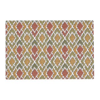 Multi Color Wood Geo Tribal Ikat Diamond Pattern Placemat